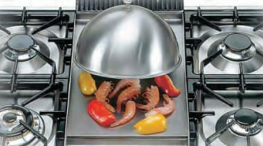 grilling steam remains inside the cover for more cookware and bakeware, kitchen appliance, gray