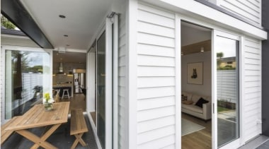 Jenkin Timber has added an innovative option door, home, house, interior design, porch, property, real estate, siding, window, white, gray