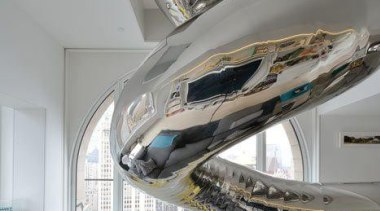 why use stairs? - A Giant Twirly Stainless ceiling, interior design, product design, gray