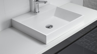 A square look composite basin to complement the angle, bathroom, bathroom accessory, bathroom cabinet, bathroom sink, ceramic, countertop, floor, plumbing fixture, product, product design, sink, tap, tile, gray, black