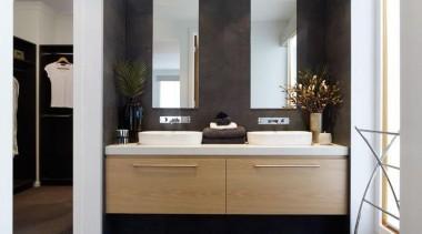 Metricon Homes Linen - Linen™ - bathroom | bathroom, bathroom accessory, bathroom cabinet, cabinetry, countertop, floor, flooring, hardwood, interior design, laminate flooring, room, sink, tile, wood flooring, gray, white