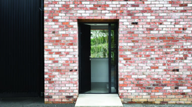 Black Barn - Dimondclad Rib 50 in Black arch, architecture, brick, brickwork, building, door, facade, house, roof, structure, wall, window, white