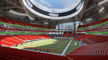 Mercedes-Benz Stadium 09 - Mercedes-Benz Stadium 09 - arena, soccer specific stadium, sport venue, stadium, structure, red