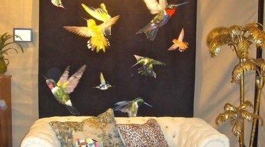 Jewel-like iridescent hummingbirds are hand woven in silk interior design, living room, room, wall, brown