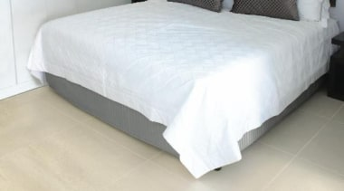 Earthstone bedroom ivory tiles - Earthstone Range - bed, bed frame, bed sheet, bedroom, floor, flooring, furniture, hardwood, laminate flooring, mattress, mattress pad, property, tile, wall, wood, wood flooring, yellow, white