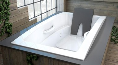 The Inua collection is now also available with bathroom sink, bathtub, plumbing fixture, product design, sink, gray, white