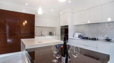 Mitred Island top and 20mm benchtops. - Caesarstone apartment, countertop, interior design, kitchen, property, real estate, room, white, gray