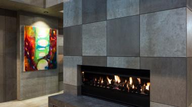 IMG_6176 - fireplace | floor | flooring | fireplace, floor, flooring, hearth, interior design, living room, lobby, wall, gray, black