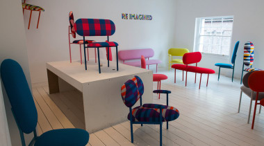 Re-imagined with David David textile:http://www.19greekstreet.com/re-imagined-collection/ chair, classroom, design, furniture, interior design, product design, room, table, waiting room, gray