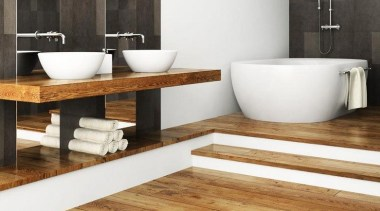 Inspirational gallery - Inspirational gallery - bathroom | bathroom, bathroom sink, ceramic, floor, flooring, hardwood, plumbing fixture, product design, sink, tap, tile, wood, wood flooring, white, black