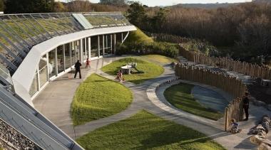 Te Mirumiru, a bilingual childcare center in New architecture, plant, structure, urban design, brown, gray