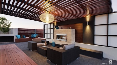 Alfresco entertaining. - The Monticello Display Home - architecture, ceiling, daylighting, deck, house, interior design, living room, lobby, patio, real estate, roof, black