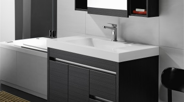 Soft basin corners and thick external lines give angle, bathroom, bathroom accessory, bathroom cabinet, interior design, product, product design, sink, black