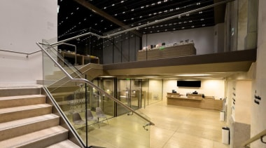 The Vincent Van Gogh Foundation is the result architecture, handrail, interior design, lobby, stairs, black, gray