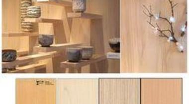 Light, natural rotary veneers at Elisabeth Leriche's trend floor, flooring, furniture, hardwood, laminate flooring, plywood, product, product design, shelf, shelving, tile, wall, wood, wood flooring, wood stain, orange
