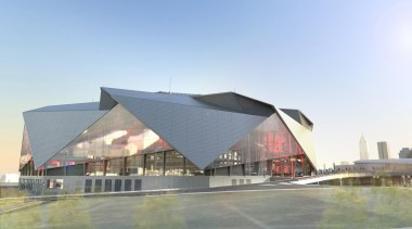Mercedes-Benz Stadium 03 - Mercedes-Benz Stadium 03 - architecture, building, convention center, corporate headquarters, roof, sport venue, structure, teal, gray
