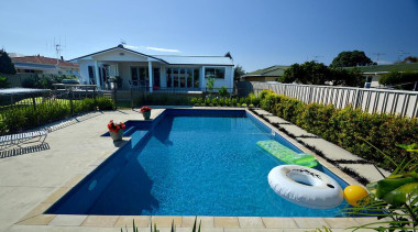 Gold Award recipient for Residential Swimming Pools under estate, home, house, leisure, property, real estate, resort, swimming pool, villa, teal