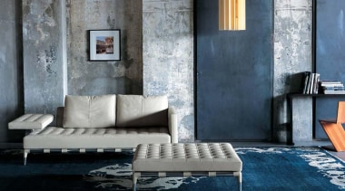 Prive Sofa by Phillipe Starck for Cassina - chair, couch, floor, furniture, interior design, living room, table, wall, gray, black