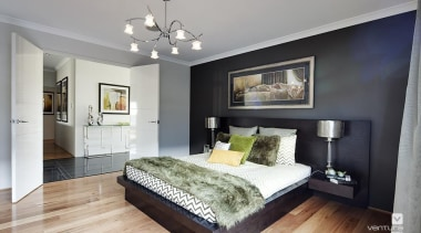 Master ensuite design. - The Paramount Display Home bed frame, bedroom, ceiling, floor, home, interior design, living room, property, real estate, room, wall, window, gray