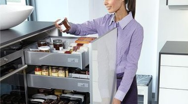 Internal pot-and-pan drawers integrated in a larder unit furniture, home appliance, kitchen, kitchen appliance, major appliance, product, product design, refrigerator, white, gray