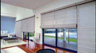 luxaflex roman shades - luxaflex roman shades - architecture, daylighting, door, floor, house, interior design, living room, real estate, shade, window, window blind, window covering, window treatment, wood, gray