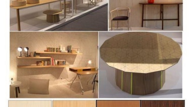One of the trend areas (top left) was countertop, floor, flooring, furniture, interior design, plywood, product, product design, property, table, wood, brown, white