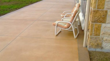 pce0115web.jpg - pce0115web.jpg - chair | concrete | chair, concrete, floor, flooring, grass, outdoor furniture, outdoor structure, road surface, tile, walkway, wood, orange, brown