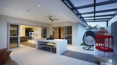 Alfresco entertaining. - The Allure Display Home - architecture, ceiling, daylighting, house, interior design, living room, penthouse apartment, property, real estate, gray