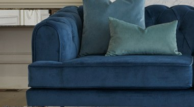 Plush, a sumptuous velvet-look polyester brings together old chair, couch, cushion, furniture, loveseat, sofa bed, studio couch, table, gray, blue