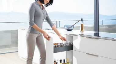 Blum's idea for narrow cabinets offers a simple furniture, product, white