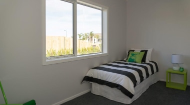 Tauranga Showhome - Tauranga Showhome - bed | bed, bed frame, bedroom, daylighting, home, house, interior design, property, real estate, room, wall, window, gray