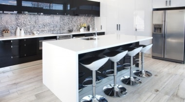A bold two tone statement - featured in countertop, floor, flooring, interior design, kitchen, white