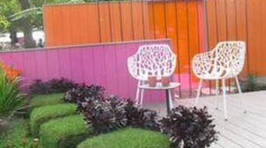 At Ellerslie International Flower Show - At Ellerslie backyard, fence, flora, garden, grass, landscaping, outdoor structure, plant, shrub, tree, yard, green