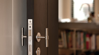 PBT15XL/50 - Solid Sprung Lever Handle Attached to door, wood, brown