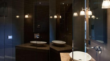 Marble - Honed and sealed - Mitred Vanity architecture, bathroom, ceiling, floor, glass, interior design, lighting, room, black