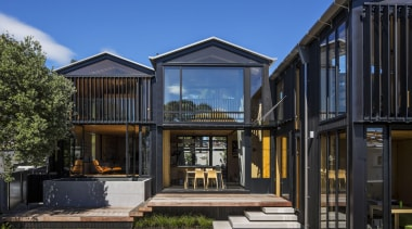 Takapuna, Auckland (designed in association with Rachael Rush) architecture, building, cottage, estate, facade, home, house, property, real estate, residential area, window, black, blue