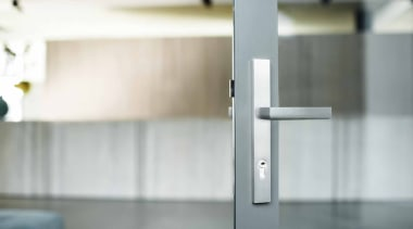 PBL23P236 - Solid Unsprung Lever Handle Attached to glass, product design, tap, gray, white