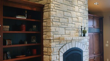 Dimensional Collection -Need to contact Natural Stone Veneers brick, fireplace, hearth, interior design, living room, wall, brown