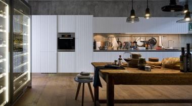 Gamma Kitchen designed by Antonio Citterio for Arclinea countertop, interior design, kitchen, gray, black