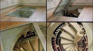Modern Wine Cellar Ideas - Modern Wine Cellar floor, flooring, stairs, gray, brown