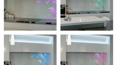 Colourful glass splashbacks create a dynamic backdrop in display device, glass, interior design, product, gray, white