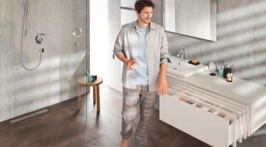 TIP-ON BLUMOTION for LEGRABOX - floor | flooring floor, flooring, furniture, interior design, plumbing fixture, product design, room, table, tile, gray
