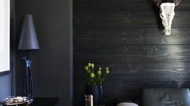 dane van bree + john pegrum / apartment, architecture, floor, furniture, home, house, interior design, light fixture, lighting, living room, room, table, wall, black