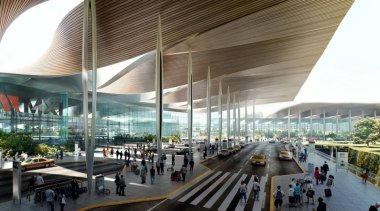 Sordo Madaleno Arquitectos and Pascall+Watson have shared their airport terminal, architecture, building, metropolis, metropolitan area, mixed use, shopping mall, white