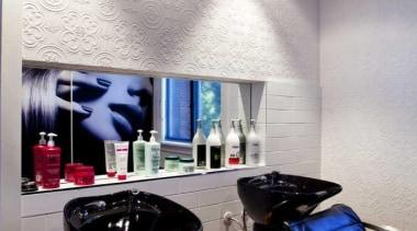 Salon interior design with black leather seats - ceiling, interior design, room, gray