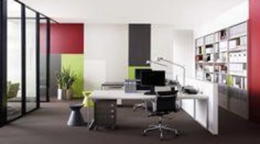 Walls featuring two colours in Melteca Pomegranate and desk, furniture, interior design, office, white, black