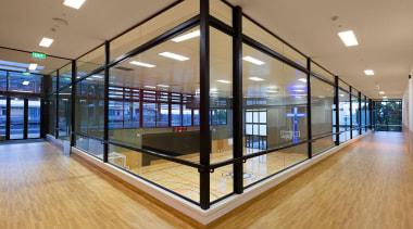 EXCELLENCE AWARDPaul Keane Gymnasium St Marys College Auckland daylighting, floor, flooring, glass, interior design, lobby, property, real estate, window, orange, brown