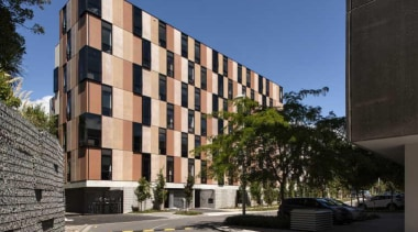 Carlaw Park Student Village in Auckland accommodates students apartment, architecture, brutalist architecture, building, commercial building, condominium, corporate headquarters, facade, home, house, mixed use, neighbourhood, property, real estate, residential area, tower block, black