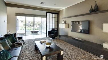 Home theatre design. - The Sentosa Display Home floor, flooring, interior design, living room, property, real estate, room, gray