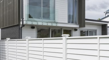 Simpler. Faster. Proven Weathertight. - A-lign Fencing - balcony, facade, fence, handrail, home, siding, window, white, gray